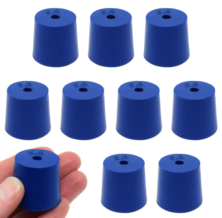 Neoprene Stopper, ASTM - Pack of 10 - 1 Hole - Blue, Size #5.5: 24mm Bottom, 28mm Top, 25mm Length - Eisco Labs