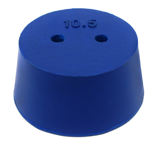 10PK Neoprene Stoppers, 2 Holes - ASTM - Size #10.5 - 45mm Bottom, 53mm Top, 25mm Length