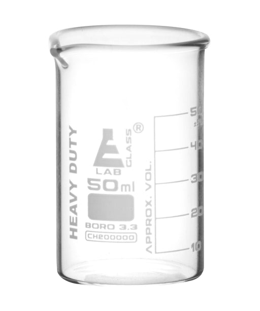 Heavy Duty Beaker, 50ml - 5mm Thick, Uniform Walls - Superior Durability & Chemical Resistance - White Graduations - Borosilicate 3.3 Glass - Eisco Labs