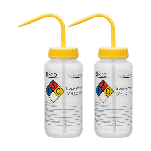 2PK Performance Plastic Wash Bottle, Isopropanol, 500 ml - Labeled (4 Color)