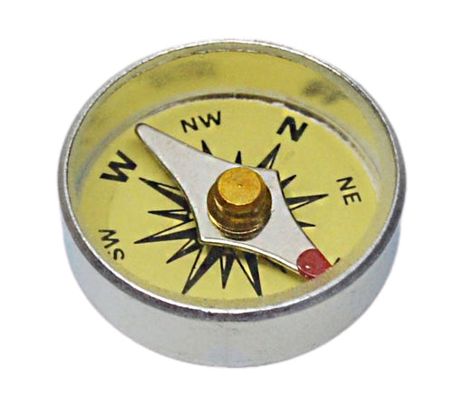 Mini Compass, 16mm - For Plotting - Yellow - With Glass Face And Aluminium Case - Marked with Principal Points - Eisco Labs