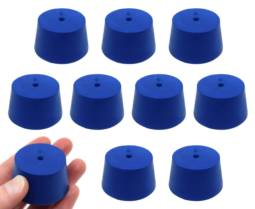 Neoprene Stopper, ASTM - Pack of 10 - 1 Hole - Blue, Size #9: 37mm Bottom, 45mm Top, 25mm Length - Eisco Labs