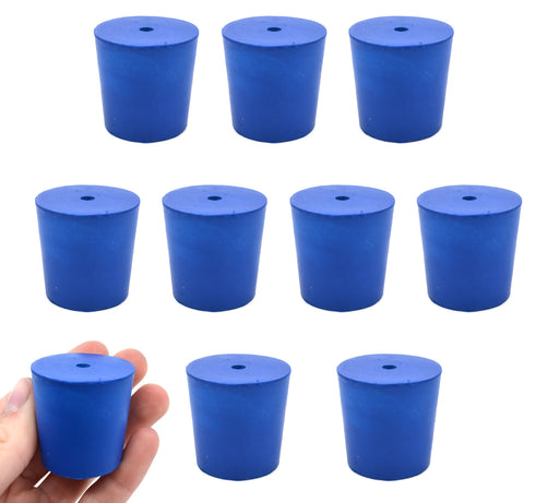 Neoprene Stoppers, 1 Hole - Blue - Size: 31mm Bottom, 36mm Top, 35mm Length - Pack of 10