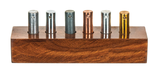 6pc Specific Heat Cylinders Set - Copper, Lead, Brass, Zinc, Iron & Aluminum - For Specific Heat Experiments