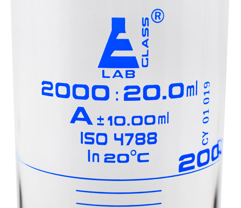 Graduated Cylinder, 2000ml - Class A - Blue Graduations, Hexagonal Base
