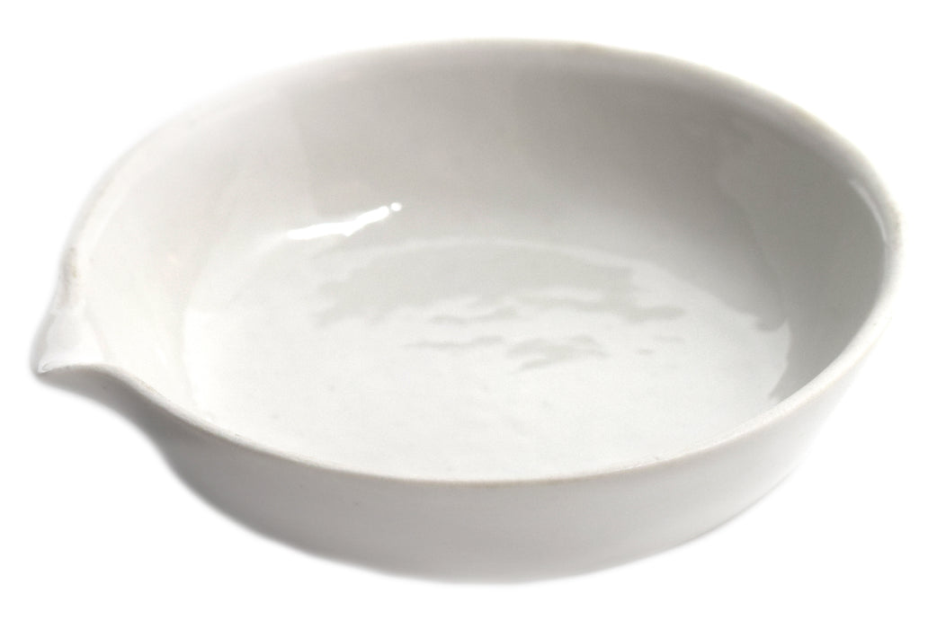 "Evaporating Basin - 2.5"" (65mm) dia. Porcelain, Flat bottom with Spout - Eisco Labs"