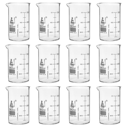 12PK Beakers, 30ml - ASTM - Low Form, Dual Scale Graduations - Borosilicate Glass
