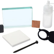 Mineral ID Kit - 7 Pieces - Includes Streak Plate, Glass Plate, Dropper Bottle, Magnet, Nail, Copper Square & Retractable Hand Lens - Great for Geology Classrooms & Basic Field Testing - Eisco Labs