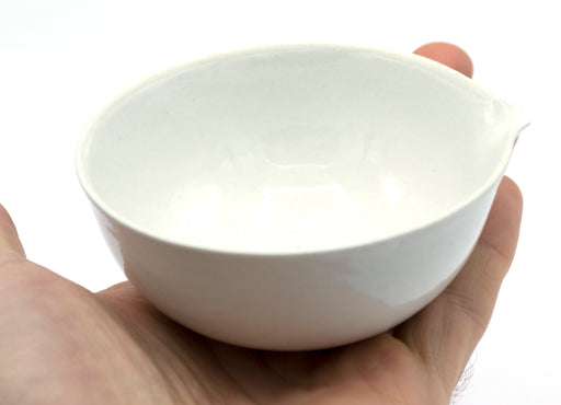 "100mL capacity, Round Evaporating Dish with Spout - Porcelain - 3.3"" Outer Diameter, 1.5"" Tall"