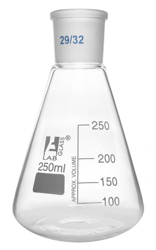 Erlenmeyer Flask, 250ml - 29/32 Joint, Interchangeable - Borosilicate Glass - Conical Shape, Narrow Neck - Eisco Labs