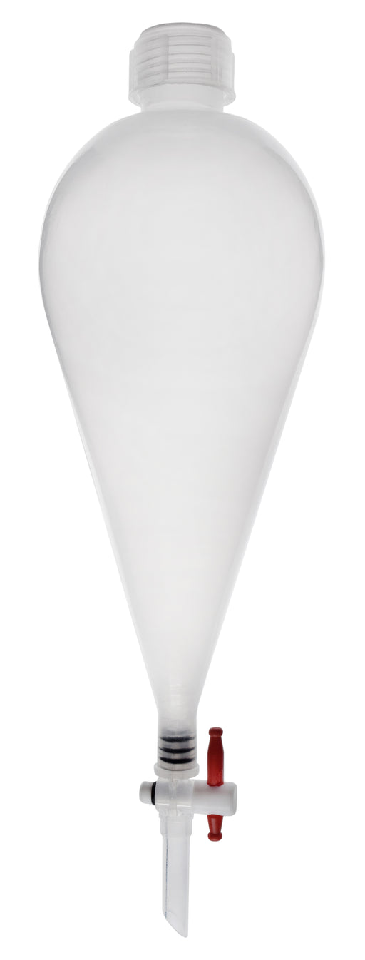 Separating Funnel, 500ml - Polypropylene - Polypropylene Stopcock, PTFE Plug - Leak-Proof Screw Cap - Eisco Labs