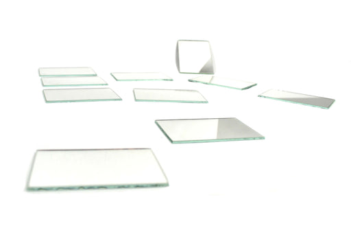 "10 Pack Glass Plane Mirrors - Unmounted - 3""x2"" approximate size - Eisco Labs"