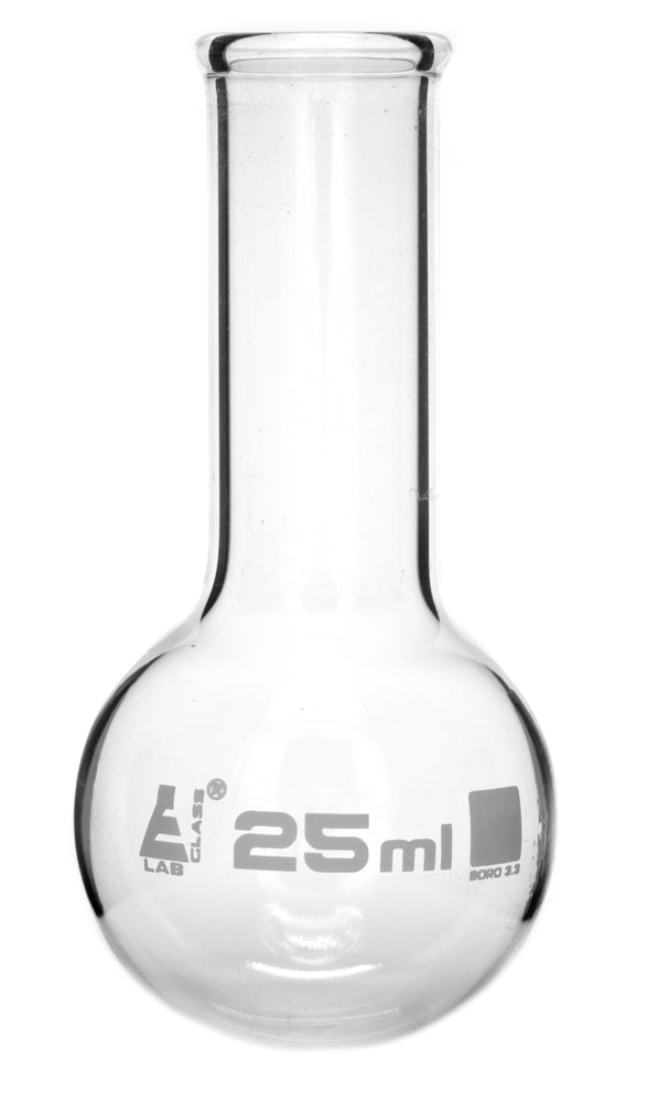 "Boiling Flask, 250ml - Borosilicate Glass - Round Bottom, Narrow Neck (1.1"" ID) - Eisco Labs"