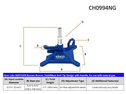 Natural Gas Micro Bunsen Burner, StabiliBase Anti-Tip Design with Handle, with Flame Stabilizer, NG - Eisco Labs