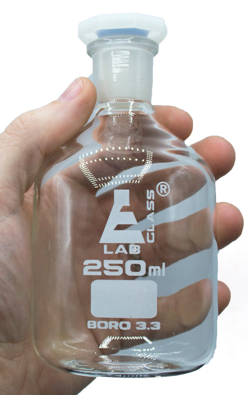250mL (8.4oz) Glass Reagent Bottle with Acid Proof Polypropylene Stopper, Borosilicate 3.3 Glass - Eisco Labs