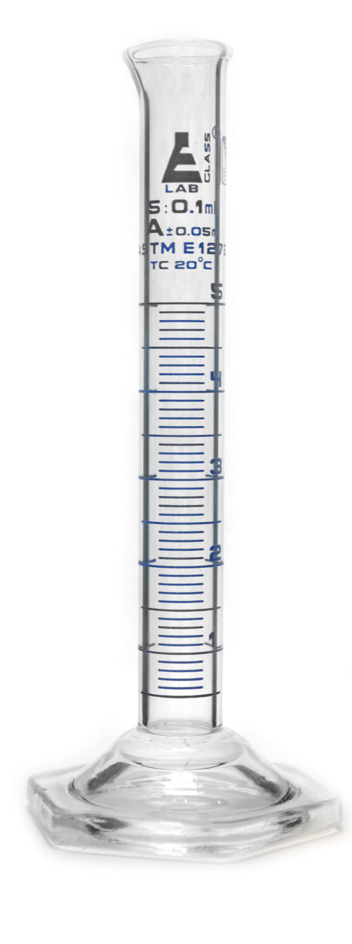 Measuring Cylinder, 5ml - Class A, ASTM - Blue, 0.1ml Graduations - Borosilicate Glass - Eisco Labs