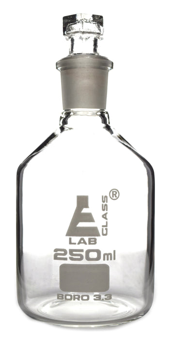 Reagent Bottle, Borosilicate Glass, Narrow Mouth with Interchangeable Hexagonal hollow glass Stopper - 250ml - Eisco Labs