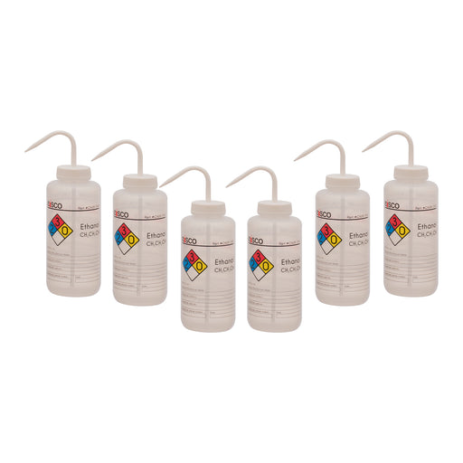 6PK Wash Bottle for Ethanol, 1000ml - Labeled (4 Colors)