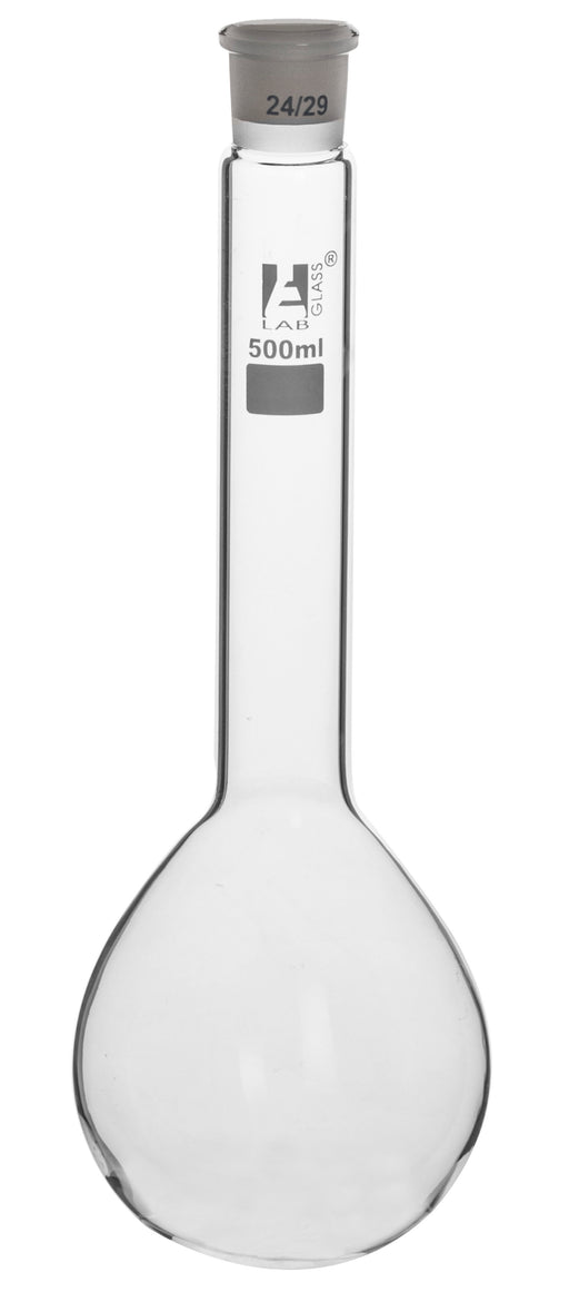 Kjeldahl Flask, 500ml - Borosilicate Glass - Glass Stopper, 24/29 Socket Size - Long Neck, Round Bottom - Eisco Labs