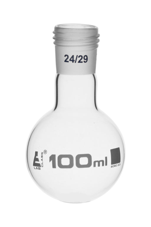 Boiling Flask with 24/29 Joint, 100ml - Round Bottom, Interchangeable Screw Thread Joint - Borosilicate Glass - Eisco Labs