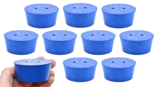 10PK Neoprene Stoppers, 2 Holes - ASTM - Size #11 - 48mm Bottom, 56mm Top, 25mm Length