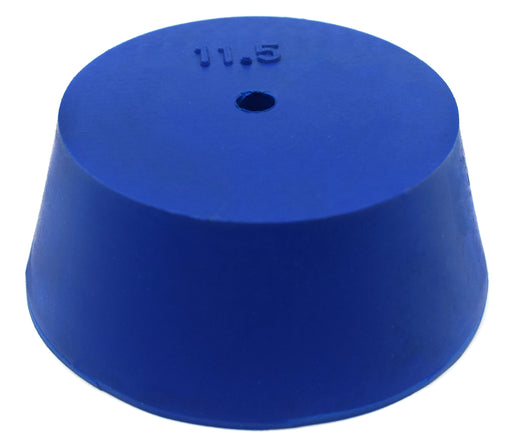 Neoprene Stopper, ASTM - Pack of 10 - 1 Hole - Blue, Size #11.5: 50mm Bottom, 63mm Top, 25mm Length - Eisco Labs