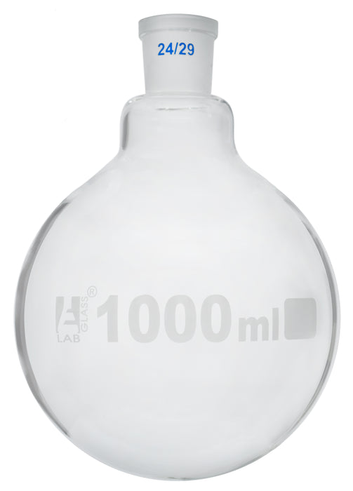 Florence Boiling Flask, 1000ml - 24/29 Interchangeable Joint - Borosilicate Glass - Round Bottom - Eisco Labs