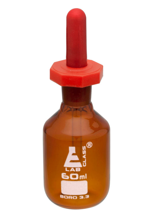 Dropping Bottle, 60ml (2oz) - Eye Dropper Pipette - Amber Borosilicate 3.3 Glass