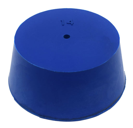 Neoprene Stopper, ASTM - Pack of 10 - 1 Hole - Blue, Size #14: 75mm Bottom, 90mm Top, 39mm Length - Eisco Labs