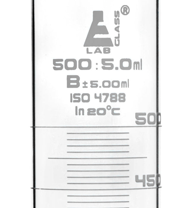 Graduated Cylinder, 500ml - Class B - White Graduations, Round Base