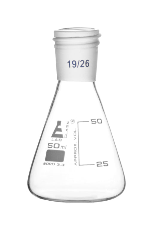 Erlenmeyer Flask with 19/26 Joint, 50ml Capacity, 25ml Graduations, Interchangeable Screw Thread Joint, Borosilicate Glass - Eisco Labs