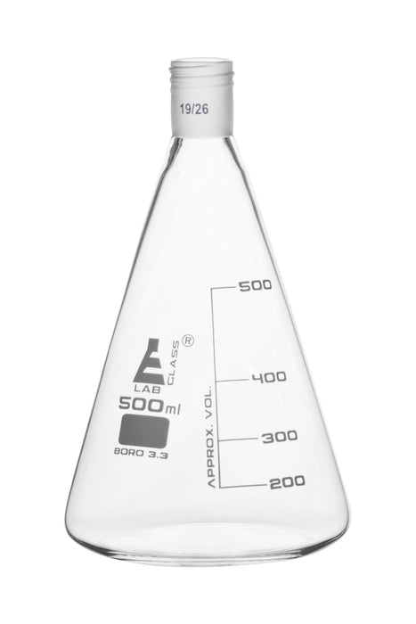 Erlenmeyer Flask with 19/26 Joint, 500ml Capacity, 100ml Graduations, Interchangeable Screw Thread Joint, Borosilicate Glass - Eisco Labs