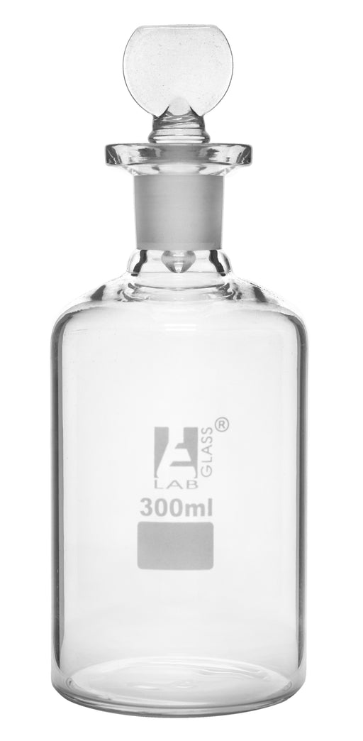 BOD Bottle, 300ml - Interchangeable Glass Pennyhead Stopper - Borosilicate Glass - Eisco Labs