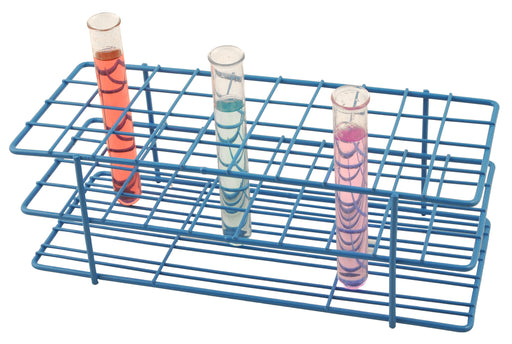 Blue Epoxy Coated Steel Wire Test Tube Rack, 40 Holes, Outer Diameter permitted of tubes 20-22mm or less , 4 X 10 Format