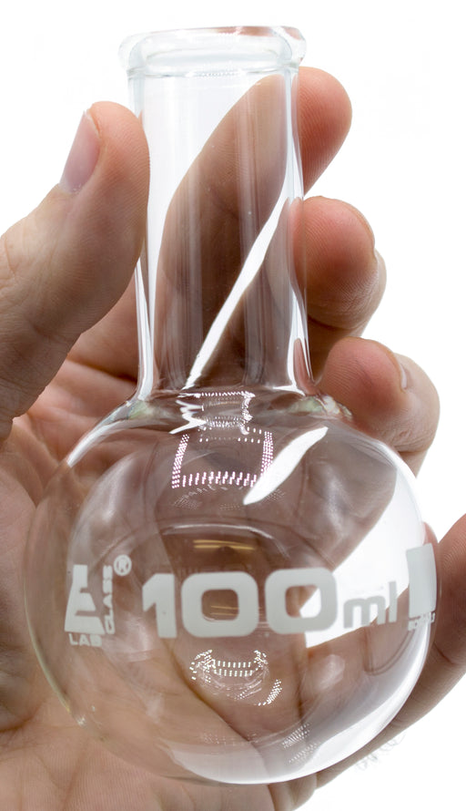 "Boiling Flask, 100ml - Borosilicate Glass - Round Bottom, Narrow Neck (0.85"" ID) - Eisco Labs"