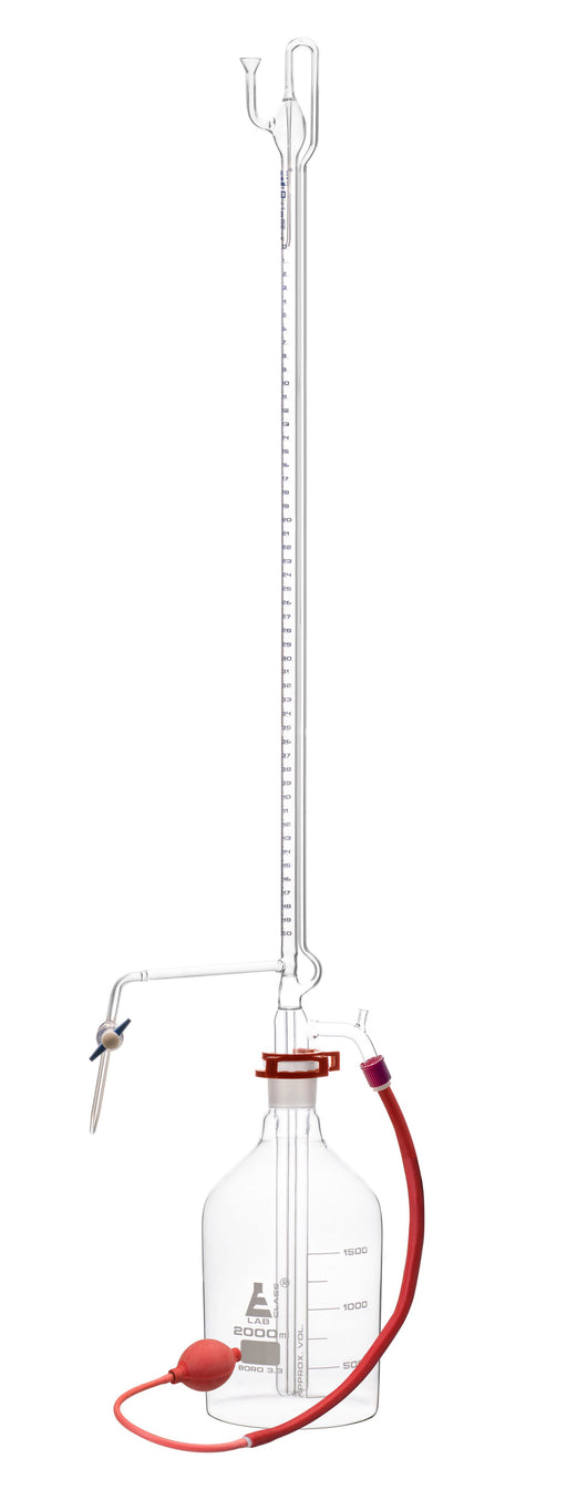 Automatic Zero Burette, 50ml - Class A - 34/35 Joint Size - 0.05±ml Tolerance, 0.10ml Sub. Divisions - 2000ml Reservoir Capacity - Eisco Labs