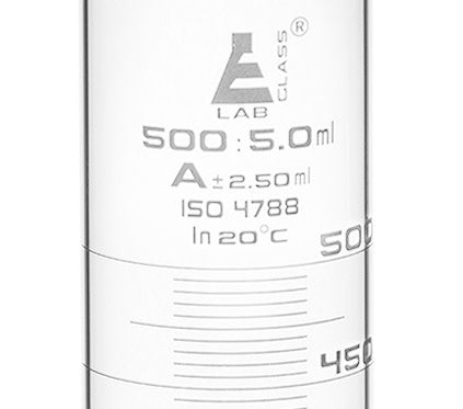 Graduated Cylinder, 500ml - Class A - White Graduations, Round Base