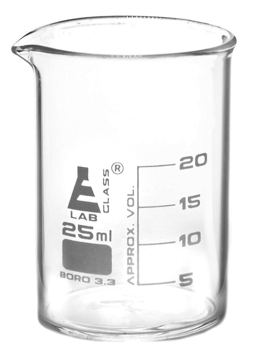 Beaker, 25ml - Griffin Style, Low Form with Spout - White, 5ml Graduations - Borosilicate 3.3 Glass