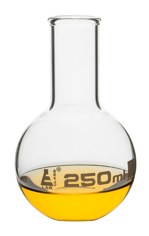 Boiling Flask, 250ml - Borosilicate Glass - Flat Bottom, Narrow Neck - Eisco Labs
