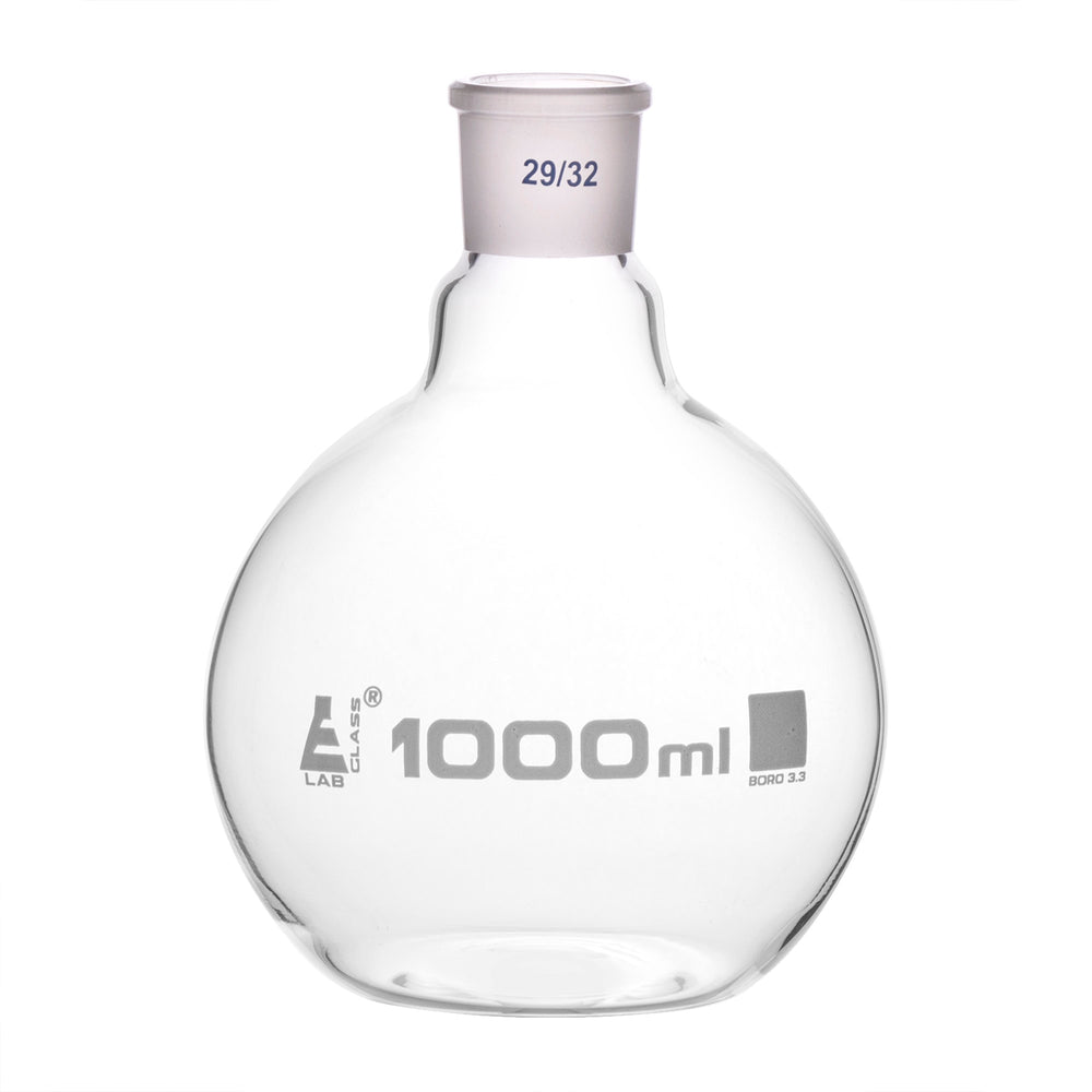 Florence Boiling Flask, 1000ml - 29/32 Joint, Interchangeable - Borosilicate Glass - Flat Bottom, Short Neck - Eisco Labs