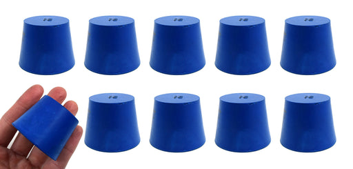 Neoprene Stoppers, Solid Blue - Size: 35mm Bottom, 45mm Top, 36mm Length - Pack of 10