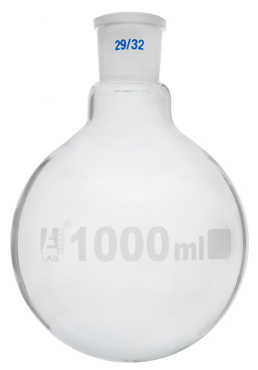 Florence Boiling Flask, 1000ml - 29/32 Interchangeable Joint - Borosilicate Glass - Round Bottom - Eisco Labs