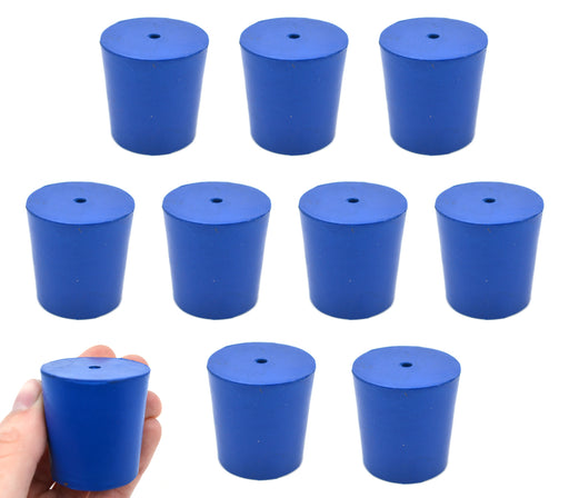Neoprene Stoppers, 1 Hole - Blue - Size: 33mm Bottom, 38mm Top, 38mm Length - Pack of 10