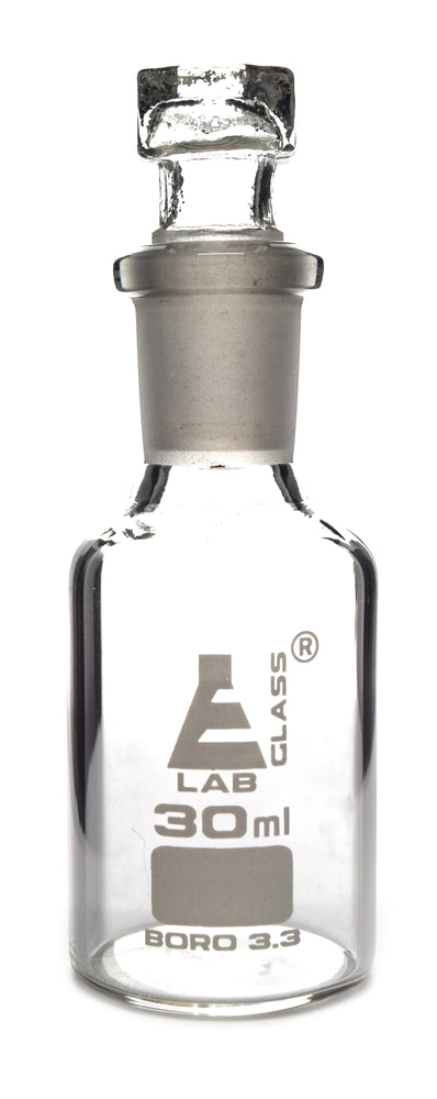 Reagent Bottle, Borosilicate Glass, Narrow Mouth with Interchangeable Hexagonal hollow glass Stopper - 60ml - Eisco Labs