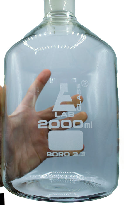 2000mL (67.6oz) Glass Reagent Bottle with Acid Proof Polypropylene Stopper, Borosilicate 3.3 Glass - Eisco Labs