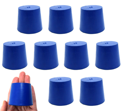 Neoprene Stoppers, Solid Blue - Size: 40mm Bottom, 49mm Top, 40mm Length - Pack of 10