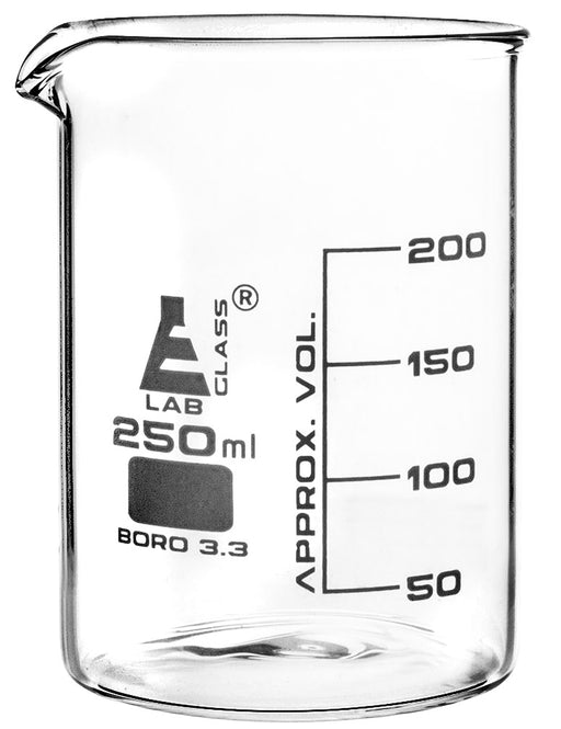 Beaker, 250ml - Griffin Style, Low Form with Spout - White, 50ml Graduations - Borosilicate 3.3 Glass