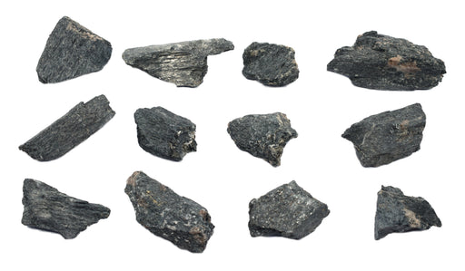 12 Pack - Raw Hornblende, Amphibole Mineral Specimens - Approx. 1""