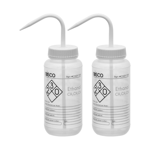 2PK Performance Plastic Wash Bottle, Ethanol, 500 ml - Labeled (2 Color)