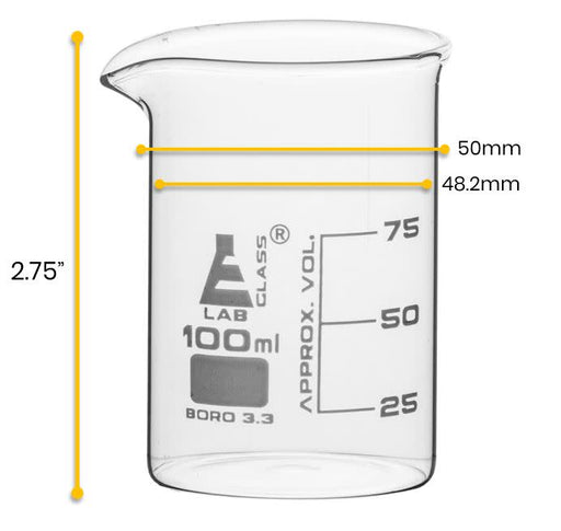 12PK Beakers, 100ml - Low Form - 25ml Graduations - Borosilicate Glass